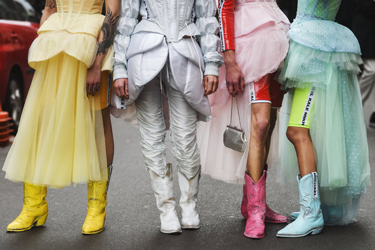 Paris, France - March 02, 2019: Street style outfit -  before a fashion show during Paris Fashion Week - PFWFW19