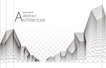 3D illustration architecture building construction perspective design, abstract urban background. Fotomurales