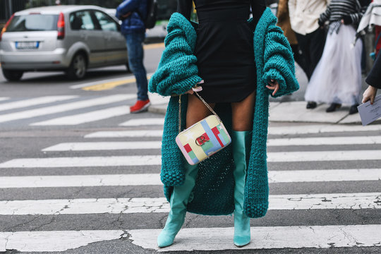 Milan, Italy - February 23, 2019: Street style – Outfit detail after a fashion show during Milan Fashion Week - MFWFW19