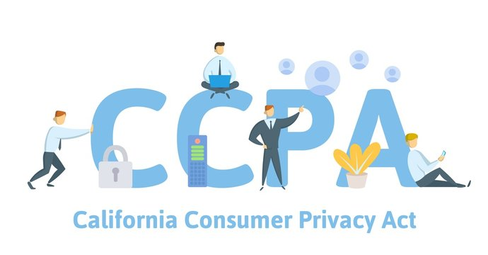 CCPA, California Consumer Privacy Act. USA data security, consumer personal data protection. Concept vector illustration. Flat style.