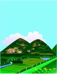 Printed kitchen splashbacks Light blue 田舎、風景、山