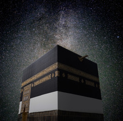 Fototapete - Kaaba in Mecca with night sky