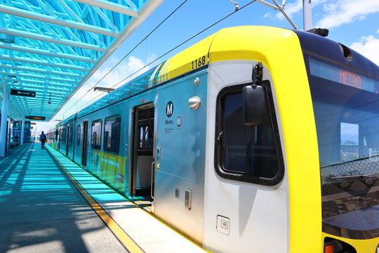 Los Angeles Metro Rail Green Line in Redondo Beach Station - Los Angeles, California