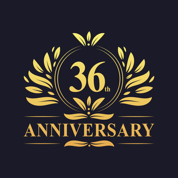 36th Anniversary logo, luxurious golden color 36 years Anniversary logo design celebration.