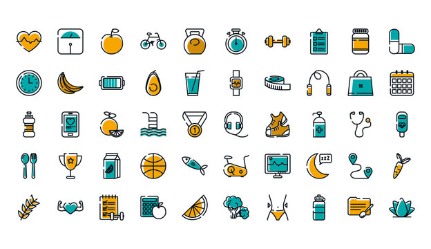 Isolated healthy lifestyle icon set vector design