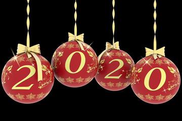 Illustrazione 3D. Decorazione natalizia. Anno nuovo 2020.
