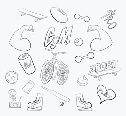 A selection of pictures on the theme of sports and physical education, on a white background