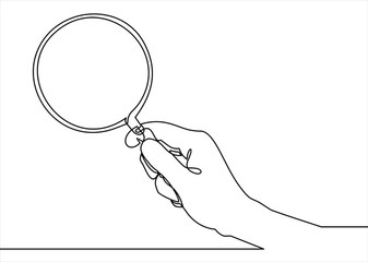Holding magnifying glass line icon- continuous line drawing