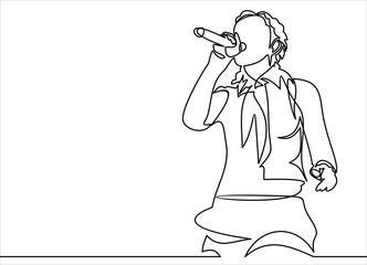 singing woman with microphone in hands illustration. musical band vocalist.continuous line drawing Fotobehang