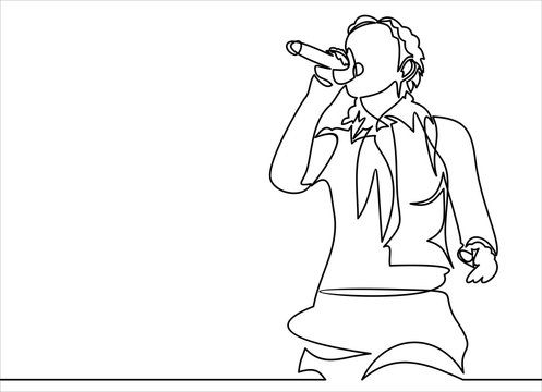 singing woman with microphone in hands illustration. musical band vocalist.continuous line drawing