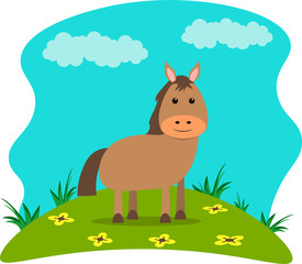 Poster Turkoois Vector illustration in cartoon style. Farm animals - cute horse on a landscape background.