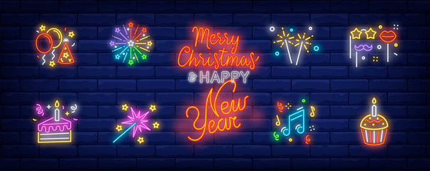 Christmas party in neon style collection. Glowing neon cake, Bengal light. Holiday, celebration, present. Vector illustration in neon style for greeting card, invitation, announcement Fotomurales
