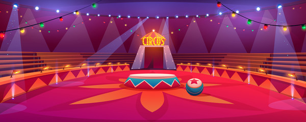 Circus arena, classic round stage under marquee dome with seats, garlands and spotlights. Empty carnival ring tent in amusement family theme park, entertainment performance Cartoon vector illustration