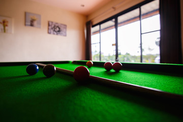 Snooker ball on snooker table in clubsport
