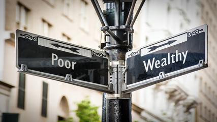 Street Sign Wealthy versus Poor Fototapete