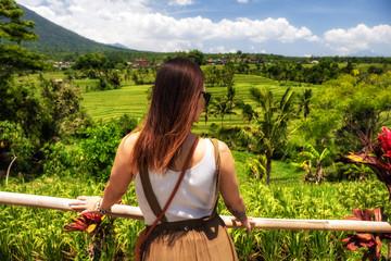 Woman observing Jatiluwih rice terrace, Bali