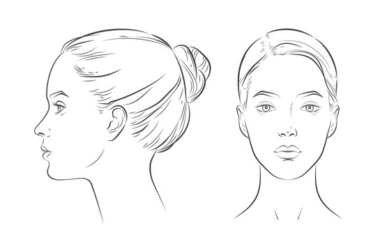 Portrait of young beautiful girl looking side and front angles.