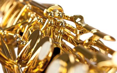Saxophones Mechanics Close Up - isolated