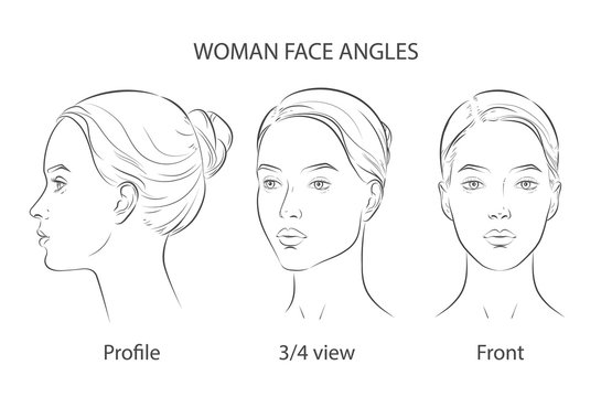 Set of three different angles. Different view front, profile, three-quarter of a girl face.