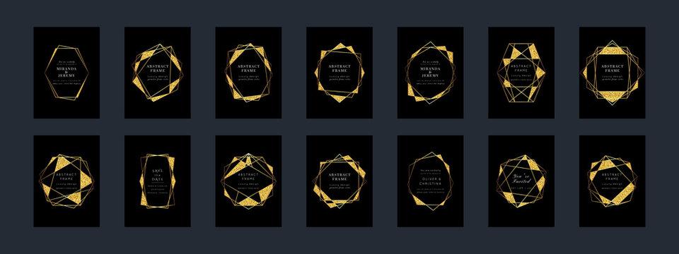Glitter Gold Geometric Card Vector