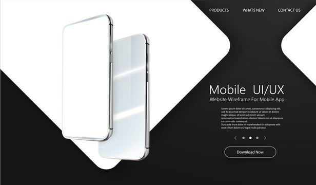 Modern cellphone with blank app screens mockup. Wireframing screens template to create and showcase your mobile ui, ux, kit. Frameless smartphones screen, mobile app presentation template. Vector