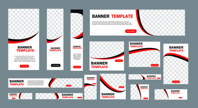 set of modern web banners of standard size with a place for photos. Business ad banner. Vertical, horizontal and square template. vector illustration EPS 10