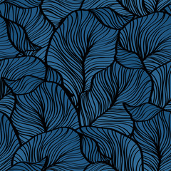 Vector illustration Retro seamless pattern with abstract leaves