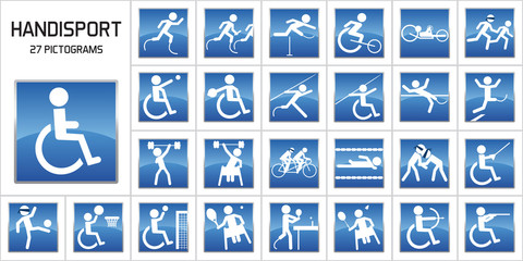 Concept du handicape et de la performance sportive avec des pictogrammes représentant les principales disciplines de handisport aux jeux olympiques.