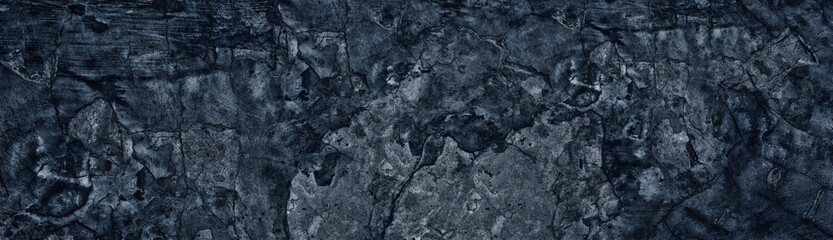 Dark blue weathered broken concrete surface panoramic texture. Old cracked cement wide background Wall mural
