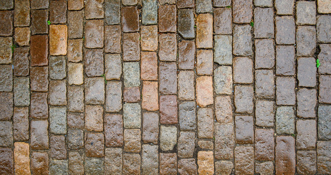 wet stone paving stone tiles after rain