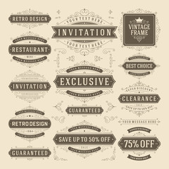 Foto auf AluDibond Retro Vector vintage flourish ornament design elements labels or badges and ornate decoration frames set