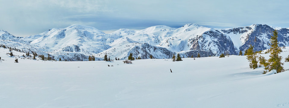 Snowy landscape of Feuerkogel Mountain plateau, Ebensee, Salzkammergut, Austria