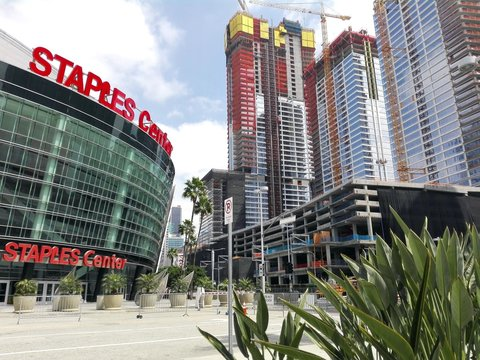 LOS ANGELES, California - April 27, 2018: Oceanwide Plaza, residential and retail complex under construction in front of Staples Center, Los Angeles