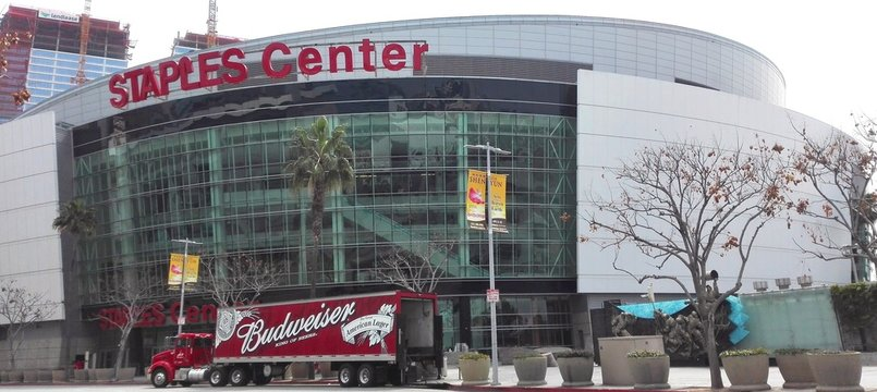 LOS ANGELES, California - Budweiser truck in front of the Staples Center