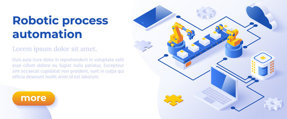 RPA - Isometric Concept in Trendy Colors. Innovation Technology Concept. Intelligent System Automation Segment Metaphor. AI Artificial Intelligence. Website Banner Layout Template.