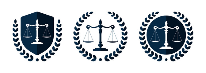 Law firm logo set. Law office logotypes set with scales of justice. Symbols of legal centers or law advocates. Scales of justice icons.