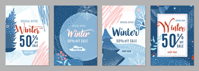 Winter sale poster set background. Winter-time gift discount offer banners in whimsical memphis modern flat style. Christmas ad flyer with snow, fir tree, snowflakes and texture graphic elements