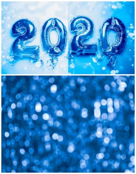 Photo collage made in blue tones with the influence of the theme of the new color of the year 2020. Image toned in Classic Blue