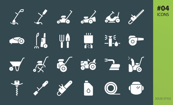 Gardening tools solid icons set. Set of lawn mower riding mini tractor, earth auger drill, hedge cutters, electric grass trimmer, garden power pruner, tree chipper, brush shredder solid vector icon
