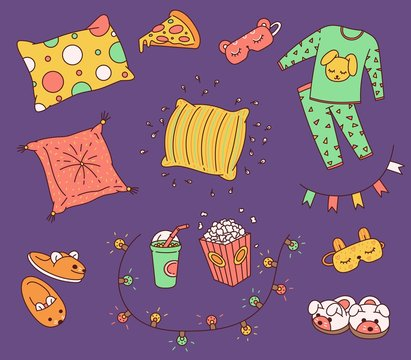 Slumber night or pajama party icons set of sketch vector illustrations isolated.