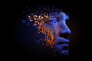 Abstract digital human face.  Artificial intelligence concept of big data or cyber security. 3D illustration  Wall mural