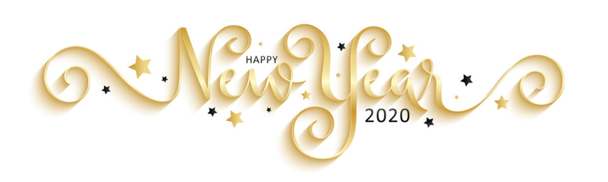 HAPPY NEW YEAR 2020 black and gold vector brush calligraphy banner with stars