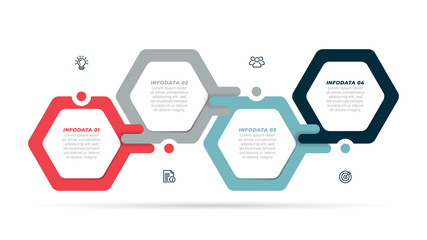 Vector infographic label design template with modern hexagon layout. Business concept with 4 steps, options ,processes. Wall mural