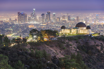 Wall Mural - Los Angeles, California, USA downtown skyline from Griffith Park