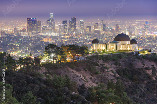 Fototapete Los Angeles, California, USA downtown skyline from Griffith Park