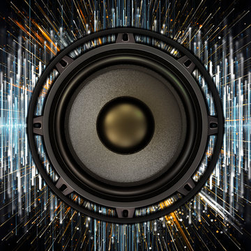 Bass speaker with colored sound waves of electronic music in the background