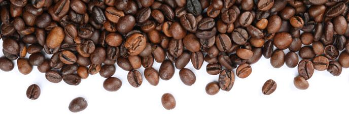 Frame of coffee beans isolated on white background, top view