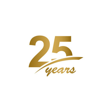 25 Years Anniversary elegant Gold Line Celebration Vector Template Design Illustration