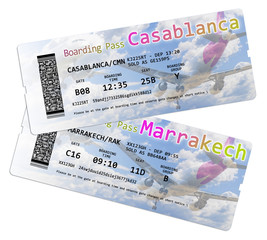 Airline boarding pass ticket to Marrakech and Casablanca (Morocco - Africa) - all the contents of the concept image are totally invented and does not contain under copyright parts