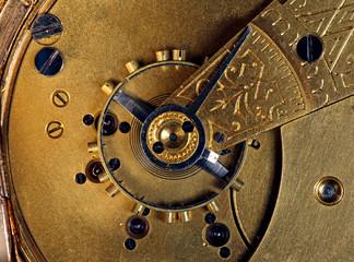 The inner mechanics of a pocket watch